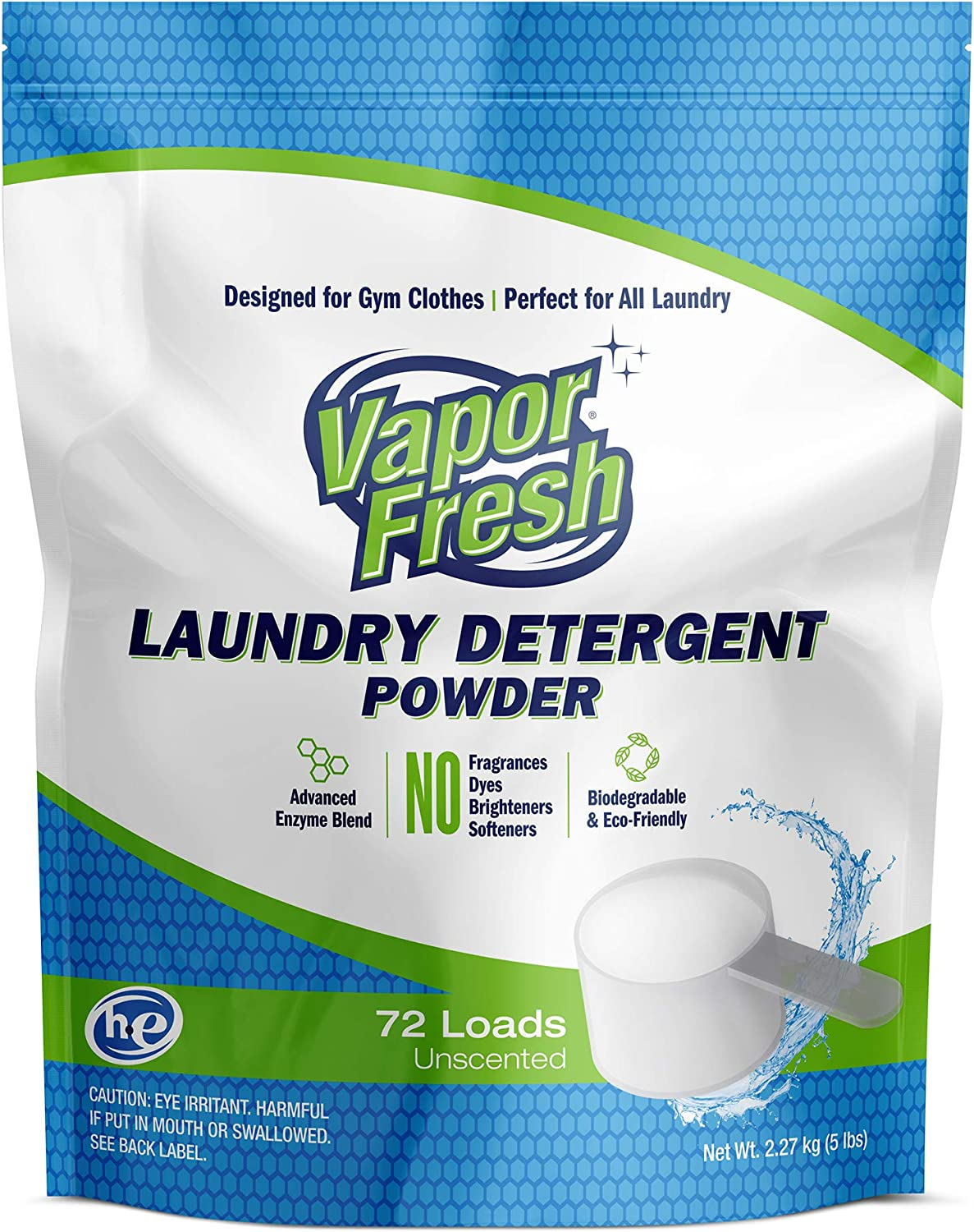 Vapor Fresh Laundry Detergent Powder - Unscented - Free and Clear - HE-Safe, 72 Loads