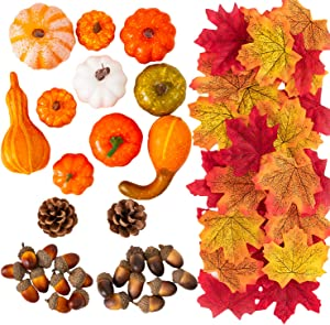 MoonLa Halloween Mini Artificial Pumpkins and Gourds Maple Leaves Pine Cones Acorns Thanksgiving Fall Harvest Home Decoration