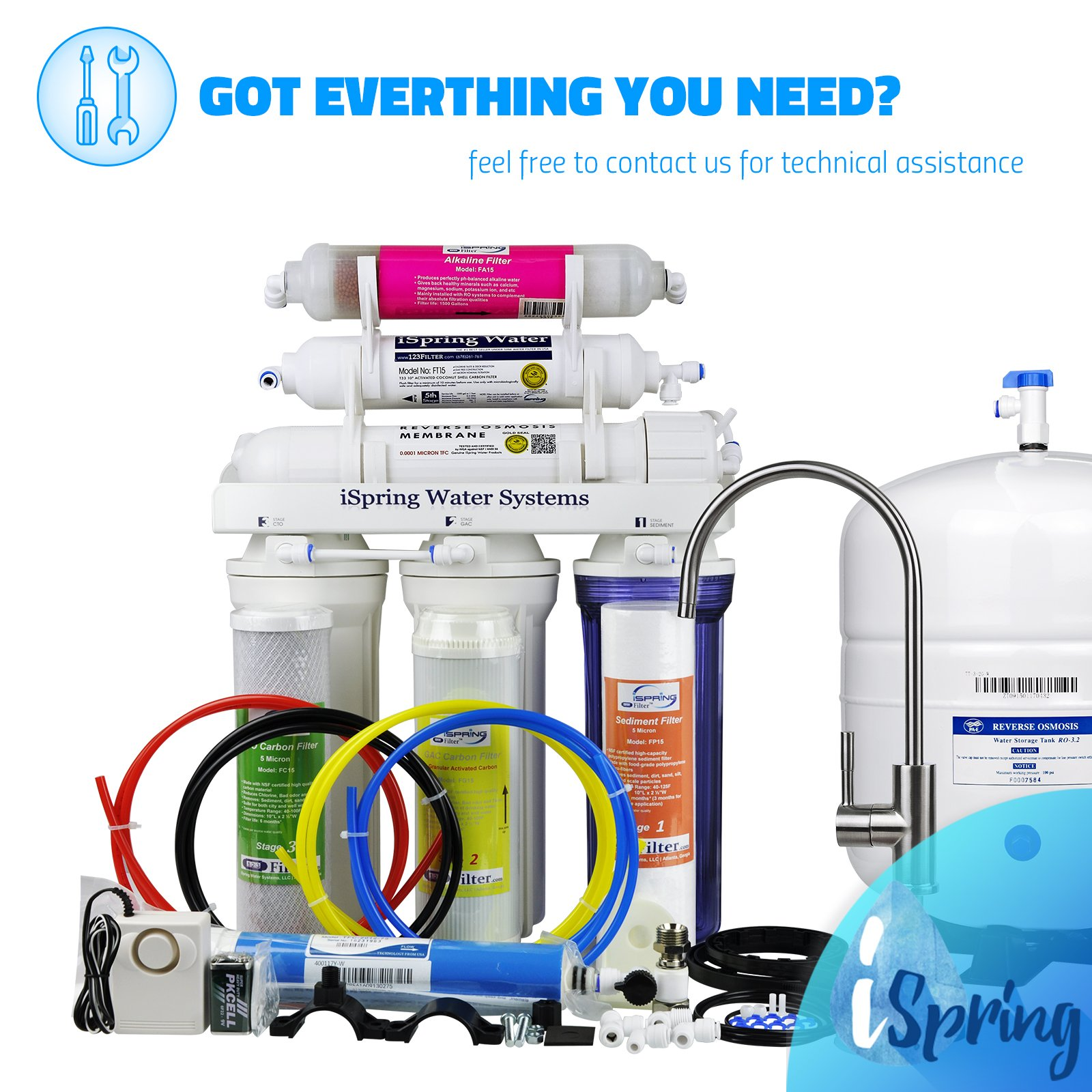 iSpring RCC7AK 6-Stage Under-Sink Reverse Osmosis Drinking Water Filtration System with Alkaline Remineralization Filter - 75 GPD by iSpring (Image #7)