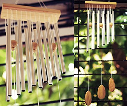 Paradigm Pictures Feng Shui 12 Pipe Metal Wind Chimes for Positive Energy & Home Decor Items (Silver)