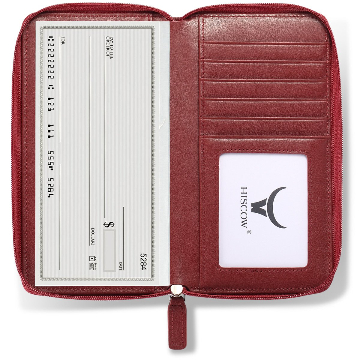 HISCOW Zippered Checkbook Cover & Card Holder with Divider - Italian Calfskin (Wine Red)