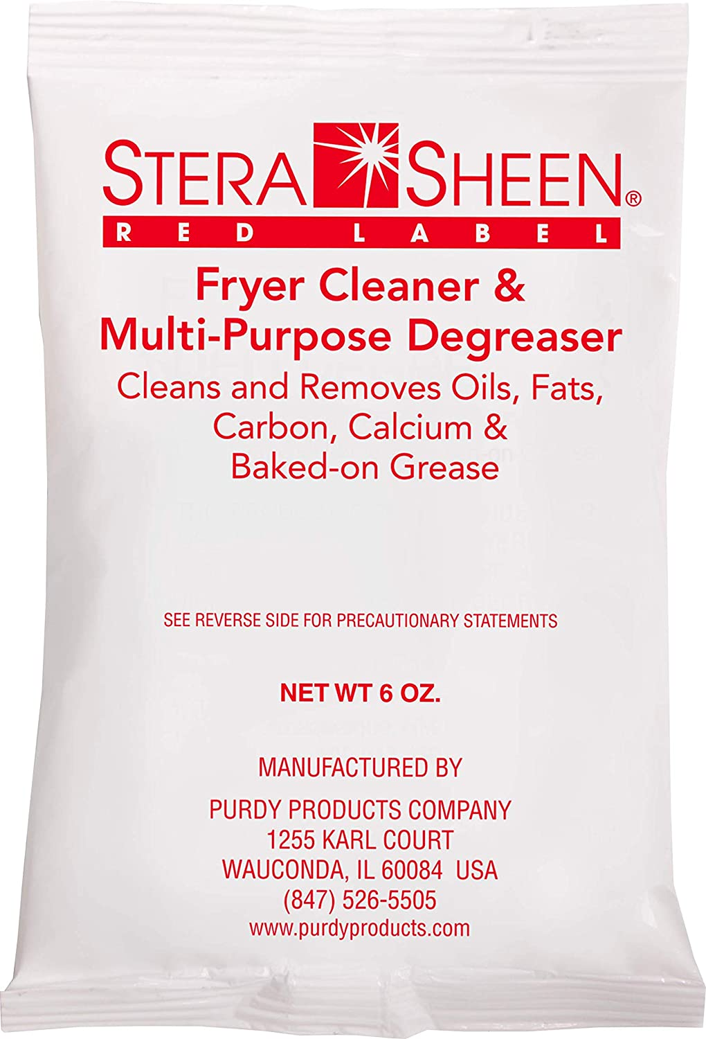 Stera-Sheen Fryer Cleaner | 12 x 6 oz Packets | Stera Red Label Food Grade Fryer & Filter Cleaner Powder & Fryer Boil Out | 321800 by Purdy Products | Portion Packets for easy use | Pack of 12 x 6 oz