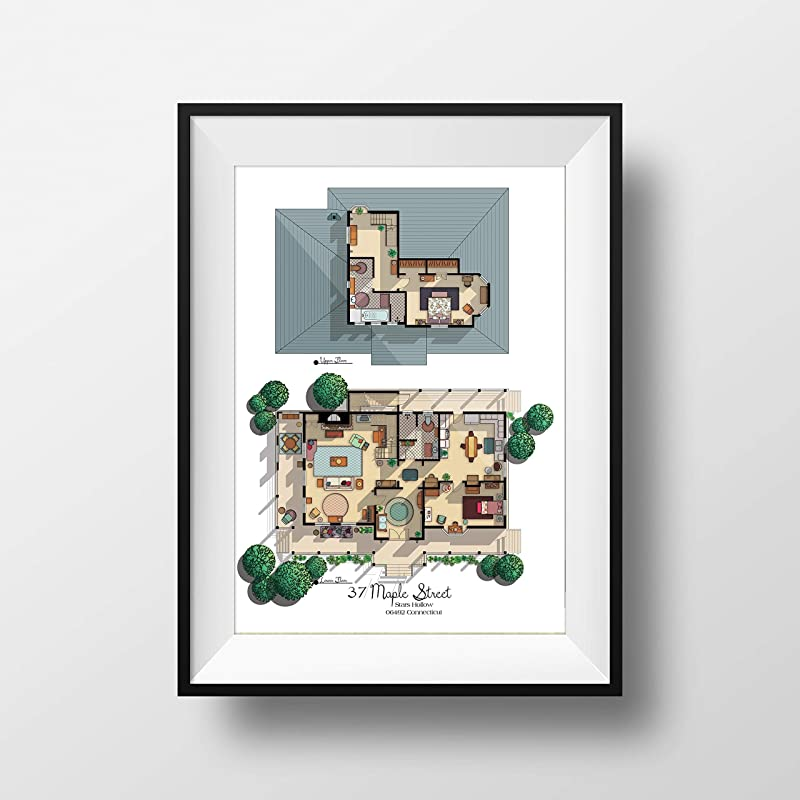 Amazon Com Gilmore Girls House Floor Plan Lorelai And Rory S House Layout Gilmore Girls Poster Gift For Gilmore Girls Fan Gilmore Girls Print Handmade
