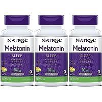 Natrol - Pastillas de melatonina de disolución rápida, 10 mg, punzón de cítricos, 60 pestañas (paquete de 3)