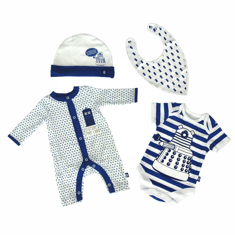 Doctor Who DW Boy's Kids Children 4 Piece Starter Set Hat BIB Bodysuit Baby Grow - BBC Official Merchandise (4 Piece Set) 100% Cotton (Newborn)