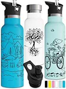 Double Walled Insulated Water Bottle with Straw Lid & Sports Cap | Kids Stainless Steel Thermos | Metal BPA Free Eco Friendly Non Sweat Durable Finish 12oz/ 17oz/ 20oz/ 25oz
