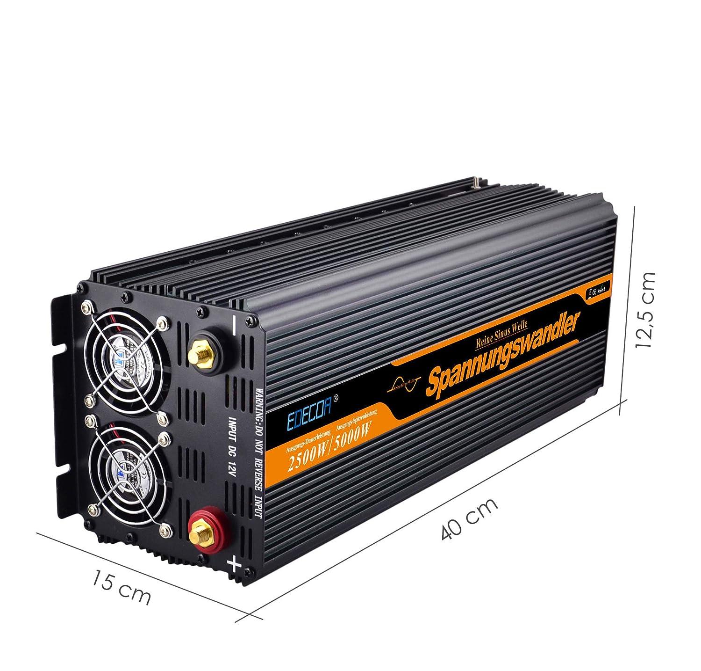 EDECOA inversor 24v 220v inversor de corriente 2500w onda pura transformador 24v 220v con mando a distancia: Amazon.es: Coche y moto