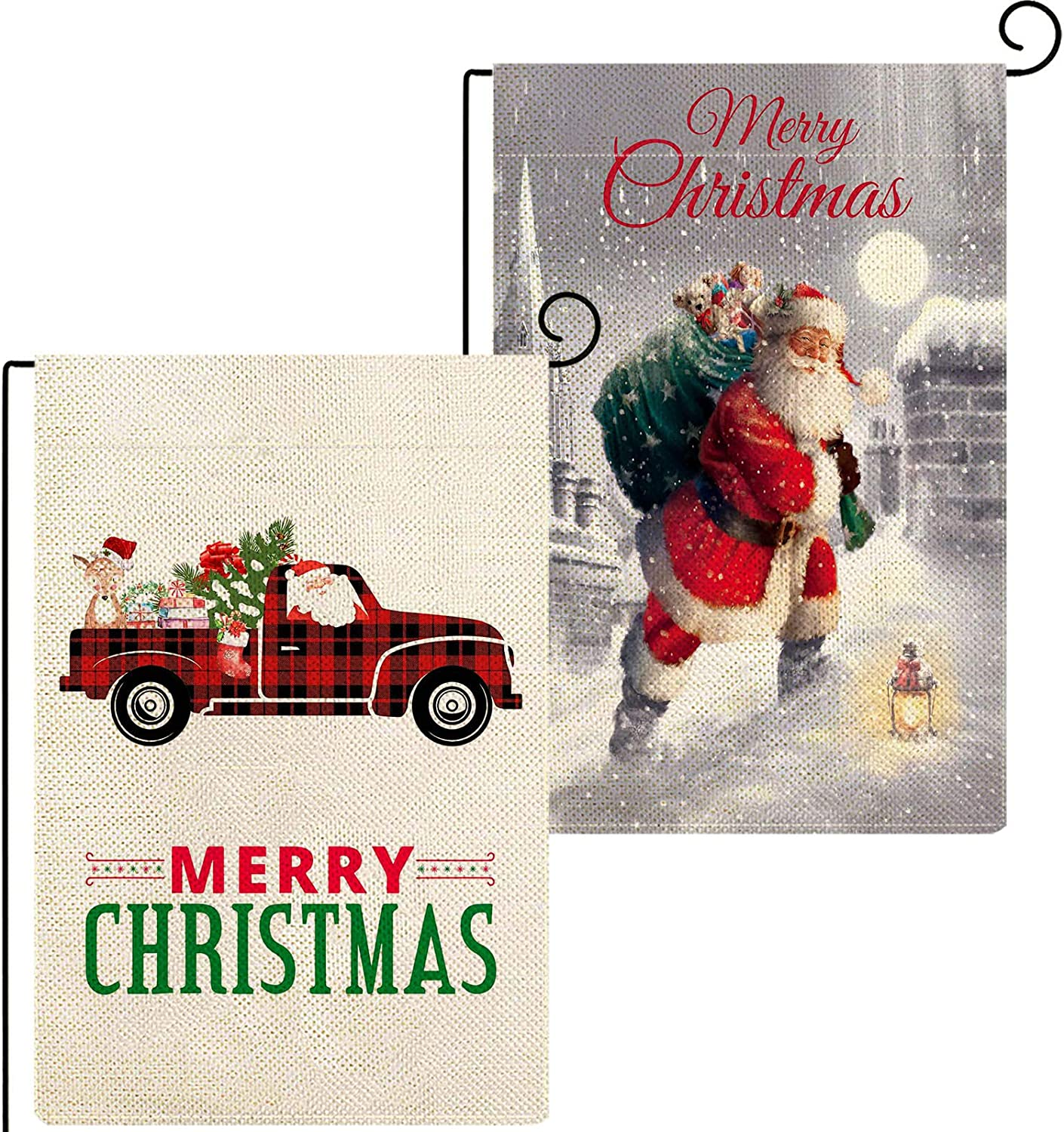 Baccessor Merry Christmas Garden Flag 12.5 x 18 Inch Bundle with Red Truck Double Sided Burlap Winter Yard Holiday Outdoor Outside Seasonal Decoration