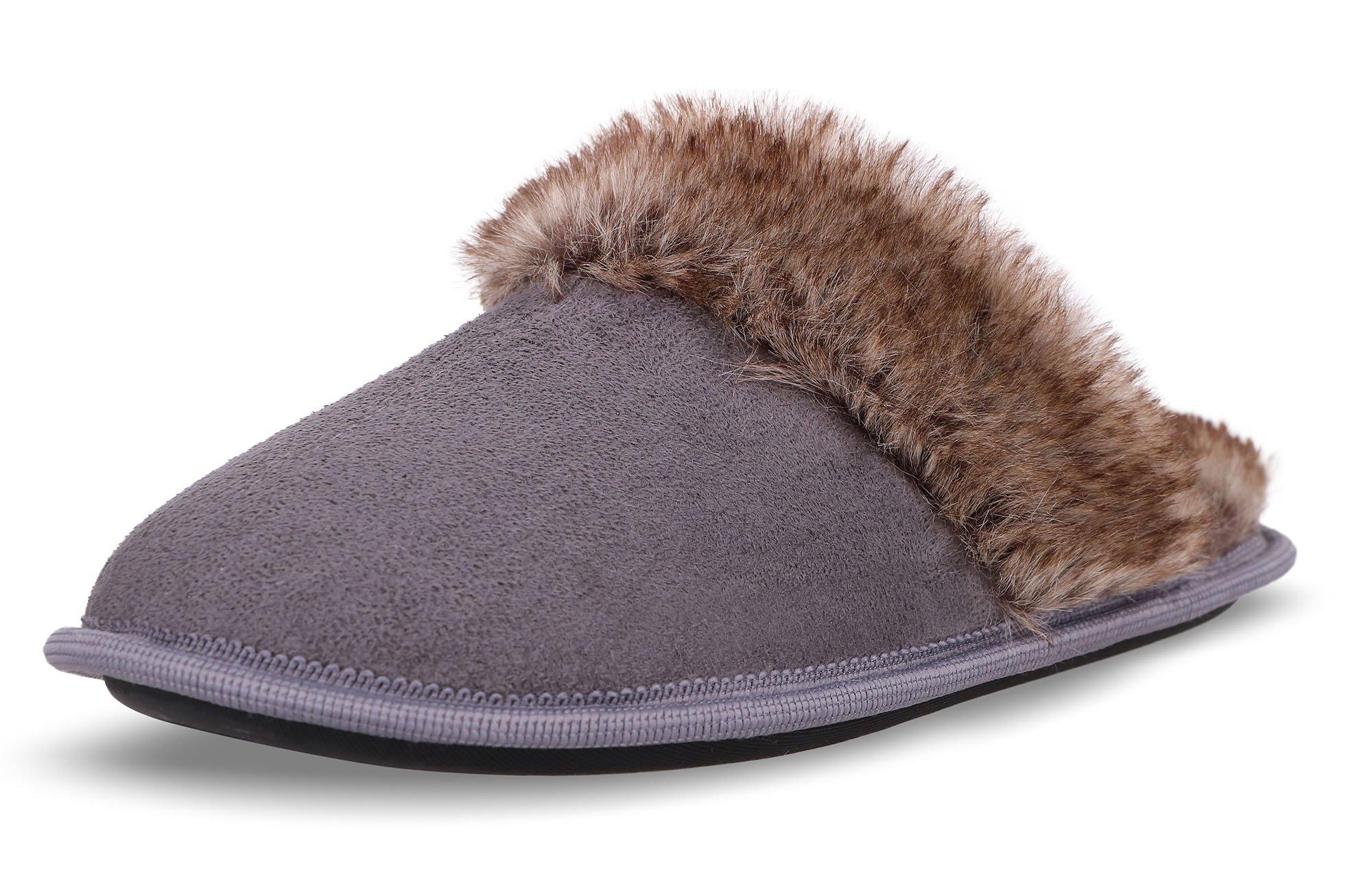 Arctic Paw Plush Rubber-Soled Faux Suede Fur Women Slippers, Grey M/L(8-9)