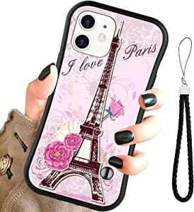OOK Case for iPhone 12/12 Pro 6.1 inch 2020, Eiffel Tower Pink Flowers Small Waist Hybrid Hard PC and Soft TPU Anti-Fall Shock-Proof Protective Cover with Wristband for Apple iPhone 12/12 Pro.