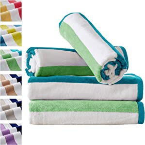 """4 Pack Reversible Plush Velour 100% Cotton Beach Towels. Cabana Stripe Pool Towels for Adults 30"""" x 60"""". Sunset Bay Collection (Aqua/Green)"""