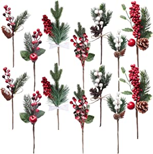 14PCS Artificial Berry Picks, Christmas Pine Picks with Red & White Berries Pine Cones for Christmas Decorations DIY Crafts Gift Wrapping Flower Arrangements Wreaths Holiday Floral Snowy Picks (14)