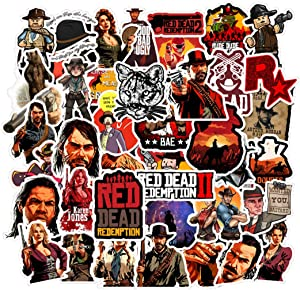 50Pcs Game Red Dead Redemption 2 Stickers for Water Bottle Cup Laptop Guitar Car Motorcycle Bike Skateboard Luggage Box Vinyl Waterproof Graffiti Patches JHSL
