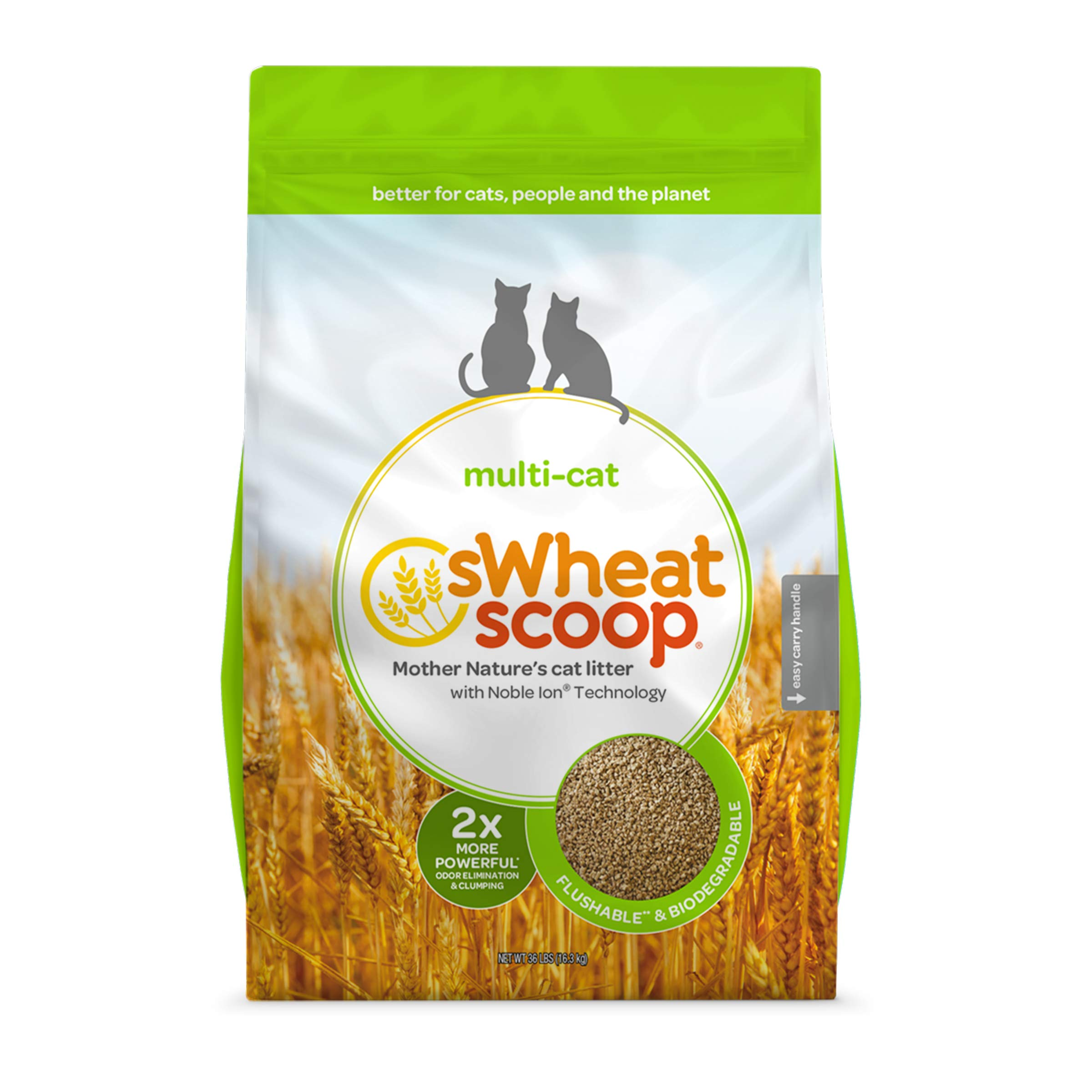 sWheat Scoop Multi-Cat All-Natural Clumping Cat Litter, 36lb Bag by sWheat Scoop