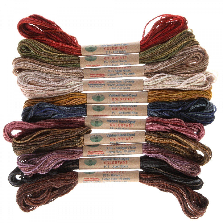12 Valdani 6 Strand Floss Embroidery Thread Vintage Hues 10 Yd Skeins by Valdani