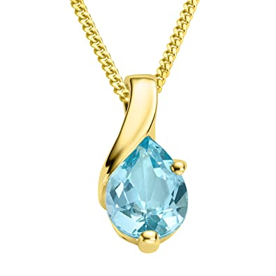 Miore Necklace - Pendant Women Chain Blue Topaz Yellow Gold 9 Kt/375 Chain 45 cm sVYGMs4