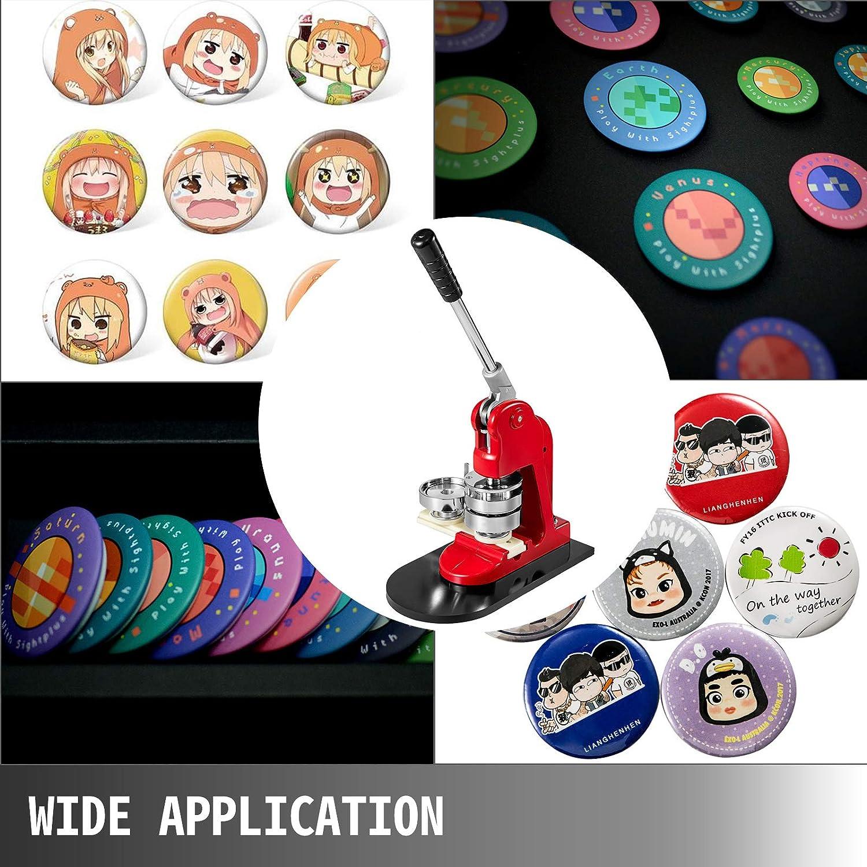 VEVOR Pressa per Badge 32 mm Macchina per Bottoni 1000 Pezzi Macchina per Badge con Dimensioni Base di 16 x 29 cm Macchina per Punzonatrice con Impugnatura Intuitiva per la Produzione di Badge