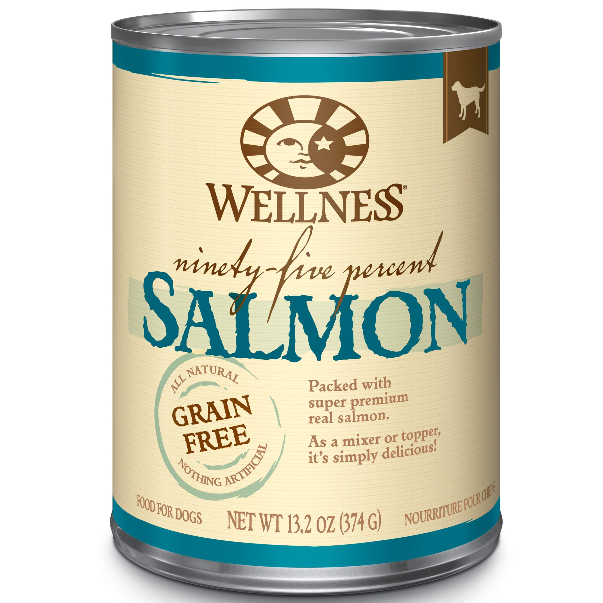 Wellness 95% Salmon Natural Wet Grain Free Canned Dog Food, 13.2-Ounce Can (Pack Of 12) by Wellness Natural Pet Food