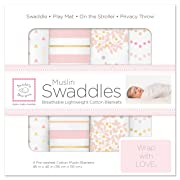 SwaddleDesigns Cotton Muslin Swaddle Blankets, Set of 4, Pink Heavenly Floral (Parents' Picks Award Winner)