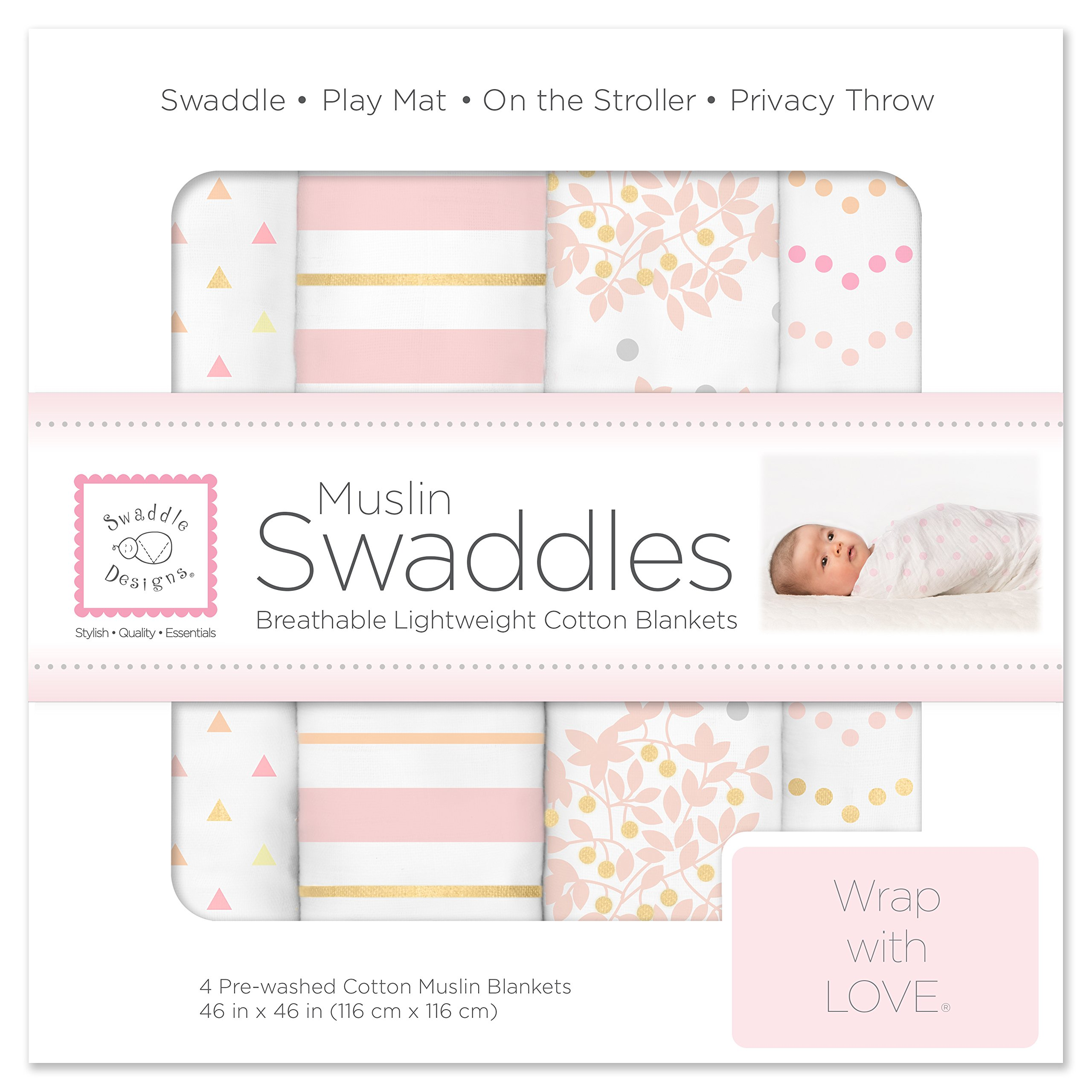 SwaddleDesigns Cotton Muslin Swaddle Blankets, Set of 4, Pink Heavenly Floral by SwaddleDesigns (Image #1)