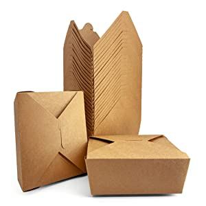 [45 oz, 36-Count, Kraft Brown] Papernain Take Out Food Containers, Disposable Paper Boxes