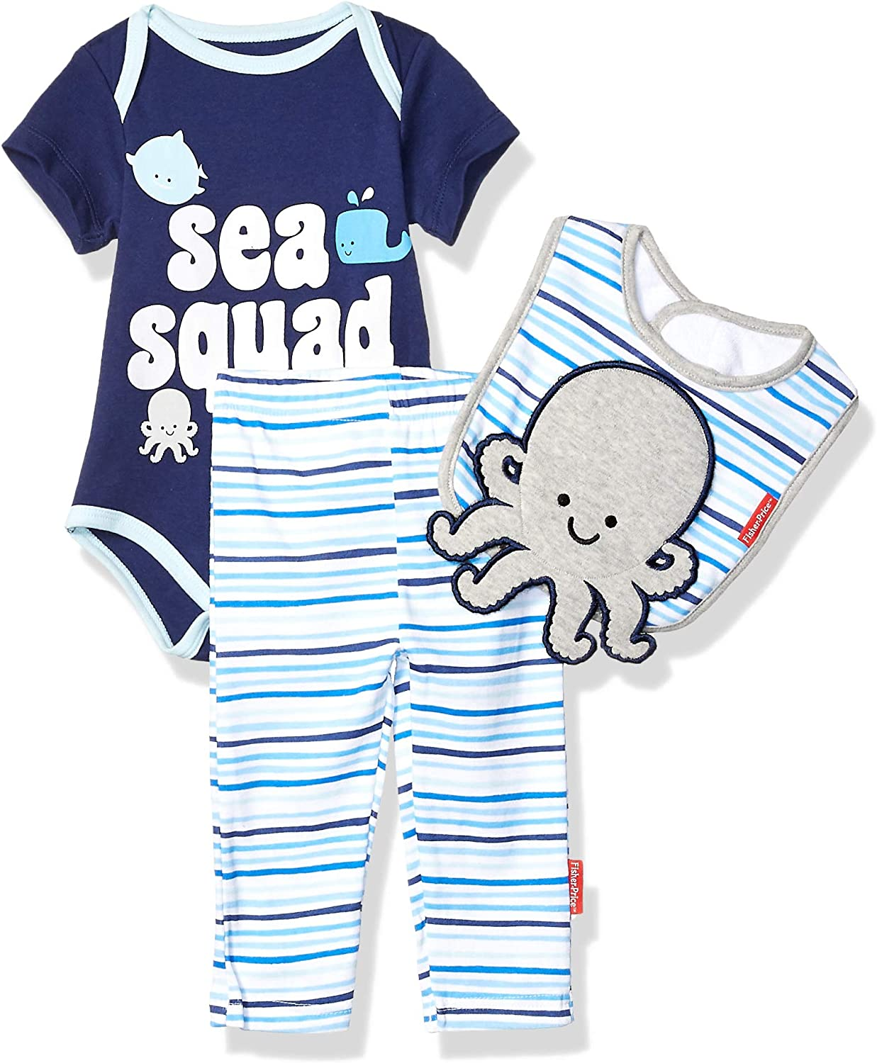 9 Months Pant and Cap Layette Set Nautical Blue Fisher-Price 3 Piece Short-Sleeve Bodysuit