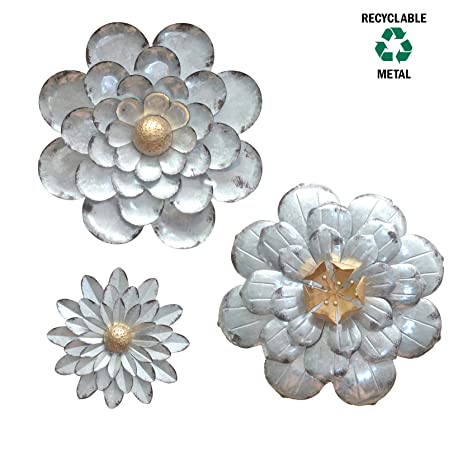 Merveilleux Galvanized Flowers Wall Décor Set Of 3 Metal Flower Wall Art By GIFTME 5