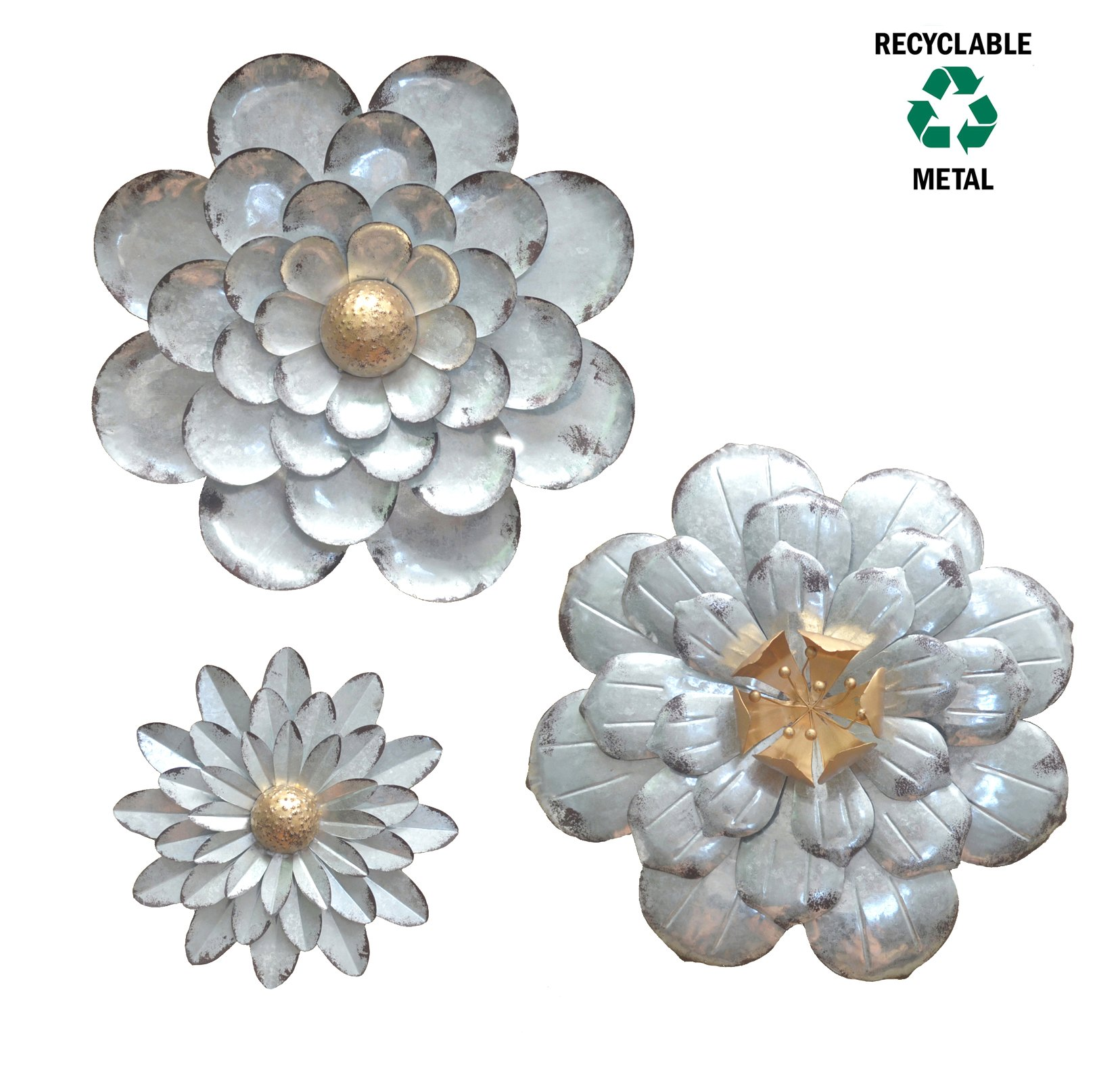 metal flower wall art Galvanized Flowers Wall Décor Set of 3 Metal Flower Wall Art by  metal flower wall art