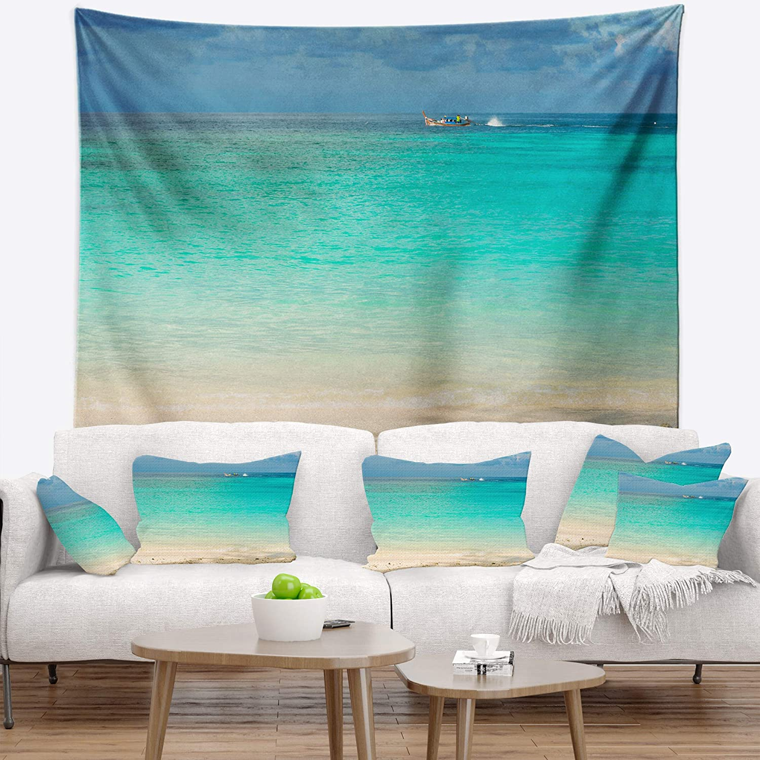 x 68 in 80 in Created On Lightweight Polyester Fabric Designart TAP11466-80-68  Tropical Andaman Sea with Blue Sky Modern Seascape Blanket D/écor Art for Home and Office Wall Tapestry x Large