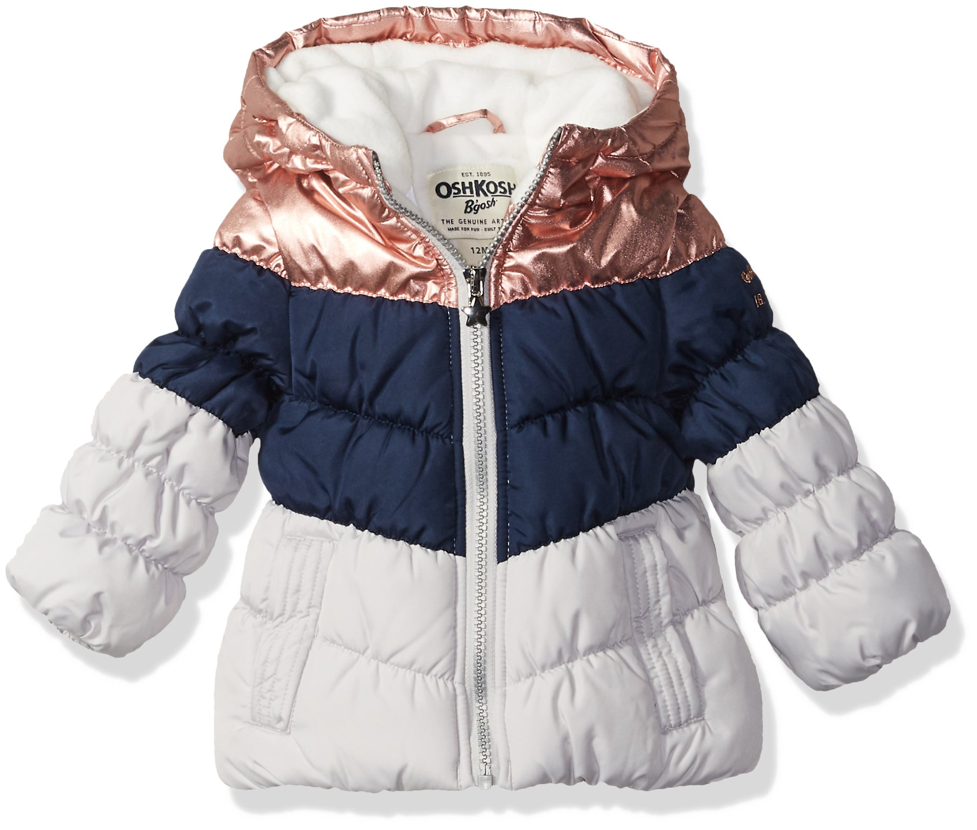 Osh Kosh Baby Girls Perfect Colorblocked Heavyweight Jacket Coat, Rose Gold/Deep Night/Grey, 12M