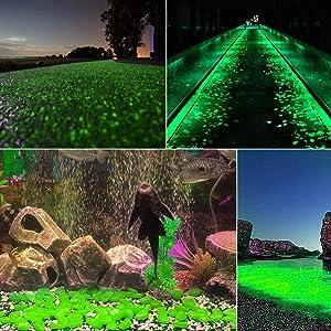 chic style 500 Pcs Glow in The Dark Garden Pebbles, Gardening Luminous Glow Stones Outdoor Decor Glowing Water Fish Tank Gravel (Green)