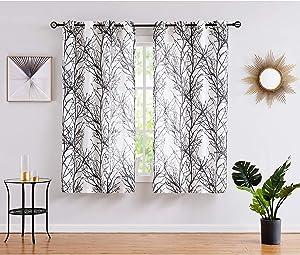 Fmfunctex White Black Semi-Sheer Curtains for Bedroom 63