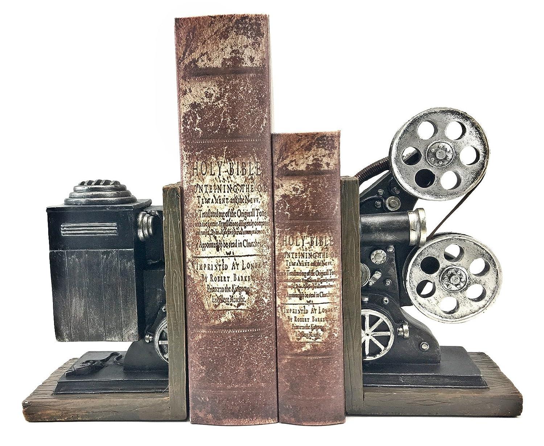 Bellaa 20904 Vintage Camera Bookends Film Movie Projector Black Silver Collector's Items