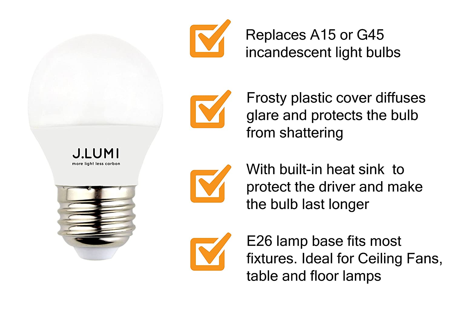 J.LUMI LED light bulb 5W, replaces 40W incandescent, A15 or G45 ...