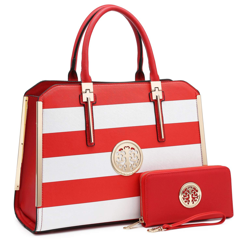 02saffiano Crosshatch Red White Dasein Women Handbags Top Handle Satchel Purses Structured Briefcase Work Shoulder Bags for 13  Laptop Tablet