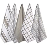 DII Cotton Luxury Assorted Kitchen Dish Towels, 18 x 28 Set of 5, Ultra Absorbent Fast Dry, Professional Grade Tea Towels for Everyday Cooking and Baking-Brown