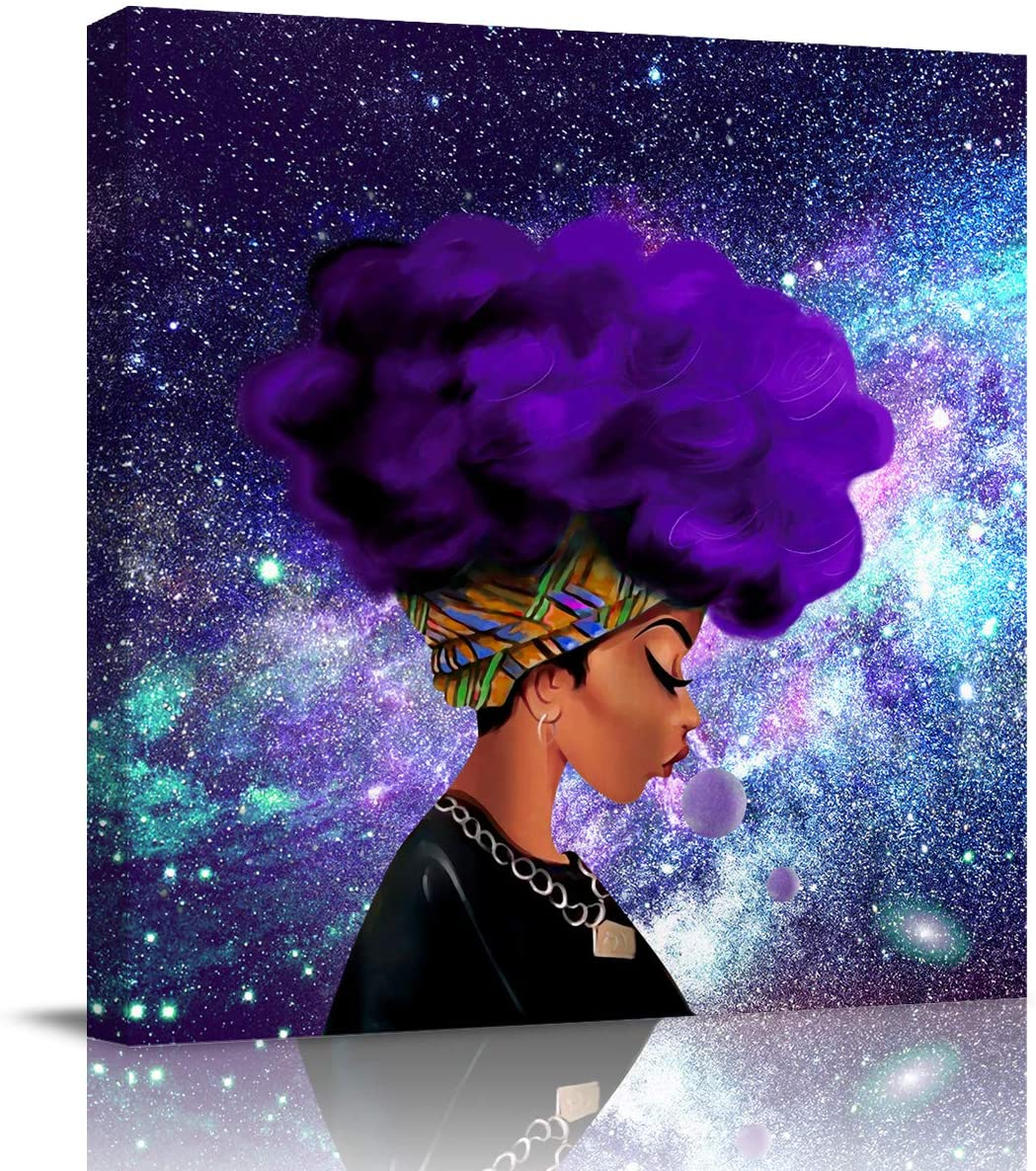 Sailground Canvas Wall Art Paintings Afro African American Woman Lady Purple Galaxy Space Square Abstract Artwork Wall Decor Framed for Home Decoration Ready to Hang, 12x12 inch