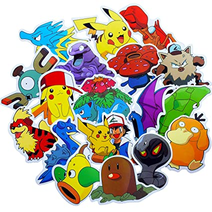 Stickers Pokemon.Pokemon Stickers For Water Bottle 50pcs Cute Animal Vinyl Decals For Laptop Phone Hydro Flask Car Computer Guitar Journal Notebook Ceiling Wall