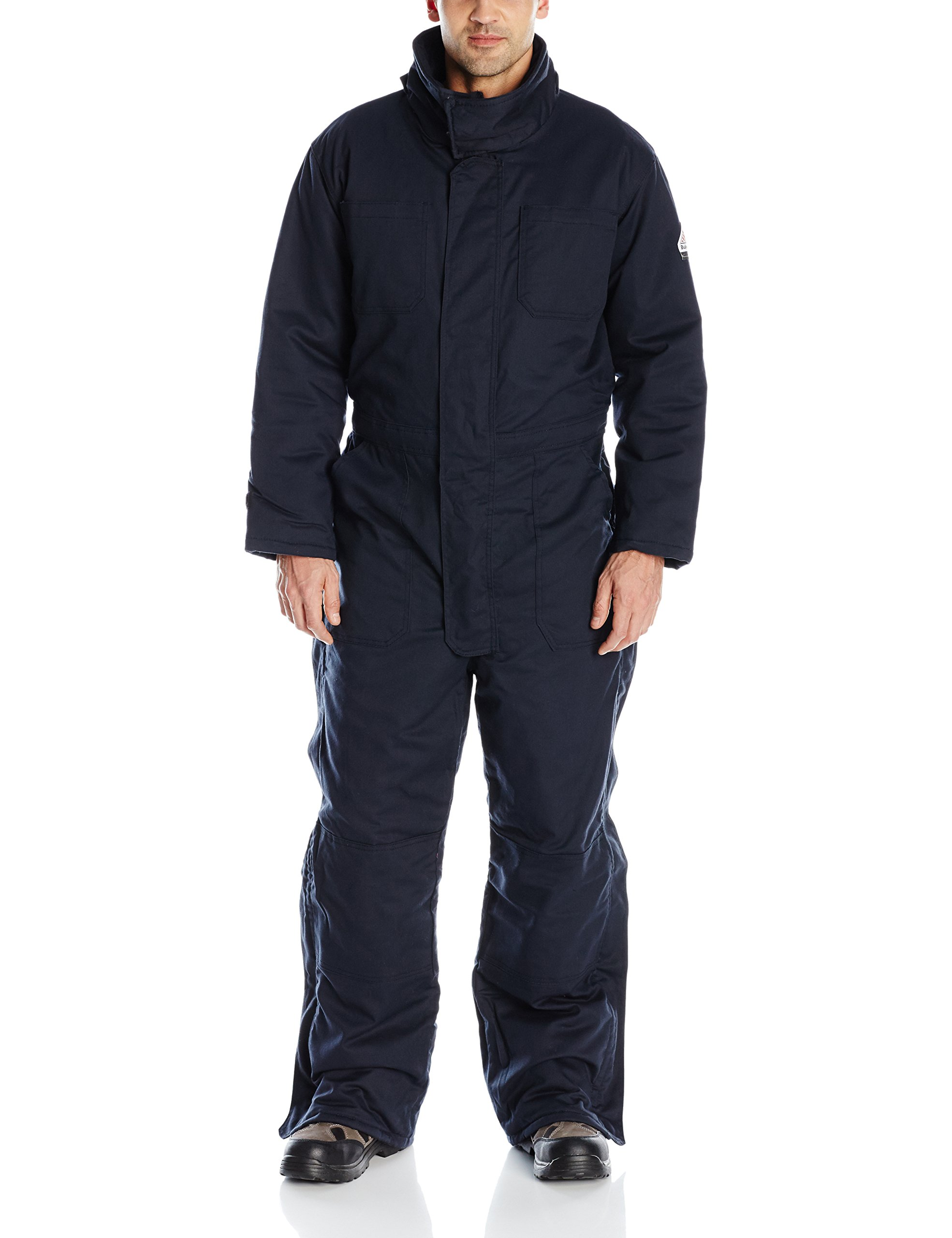 Bulwark Flame Resistant 7 oz Twill Cotton/Nylon Excel FR ComforTouch Long Premium Insulated Coverall with Concealed Snap Closure, Navy, X-Large