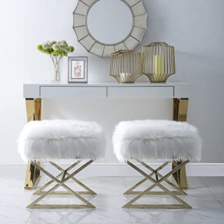 Inspired Home Aurora White Faux Fur Ottoman   Stainless Steel | Gold X Legs | Upholstered | Bedroom | 1 Pc Only by Inspired Home