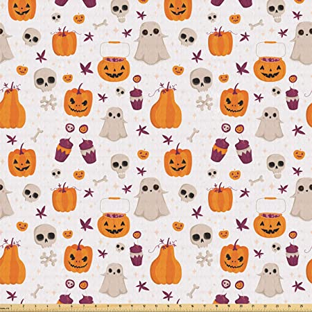 Halloween Skeleton Bones Boo Dot Orange Purple Cotton Fabric CP46923 By The Yard