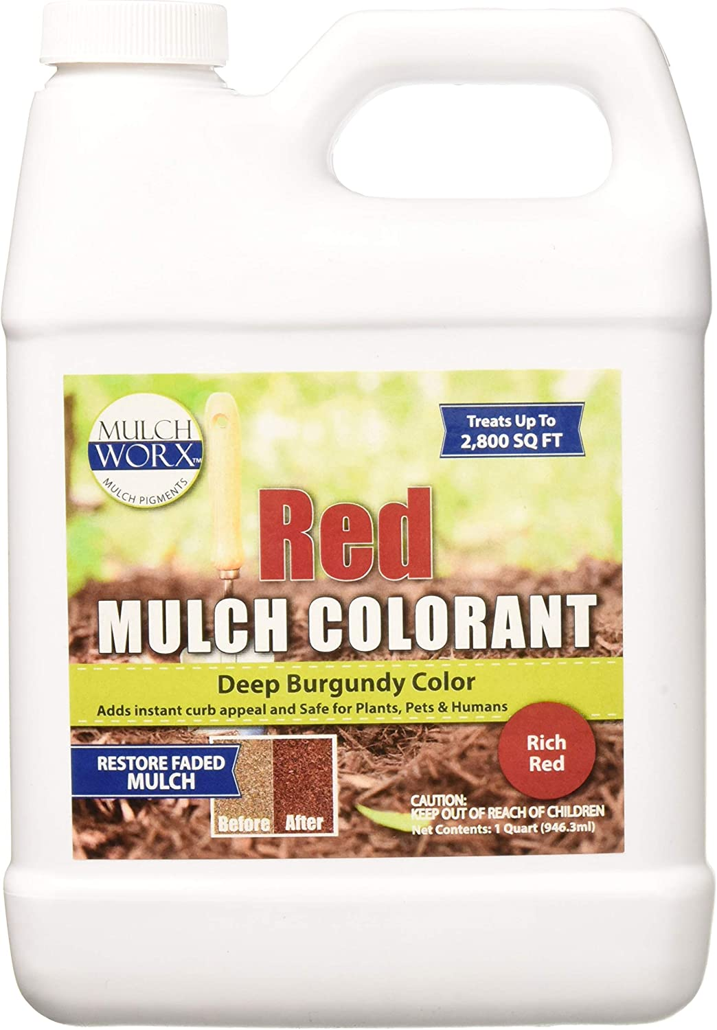 MulchWorx Red Mulch Color Concentrate - 2,800 Sq. Ft. - Deep Burgundy Red Mulch Dye Spray
