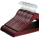 Zober Solid Cherry Wood Suit Hangers with Non Slip Bar and Precisely Cut Notches - 360 Degree Swivel Chrome Hook - Cherry Finish Super Sturdy and Durable Wooden Hangers - 20 Pack