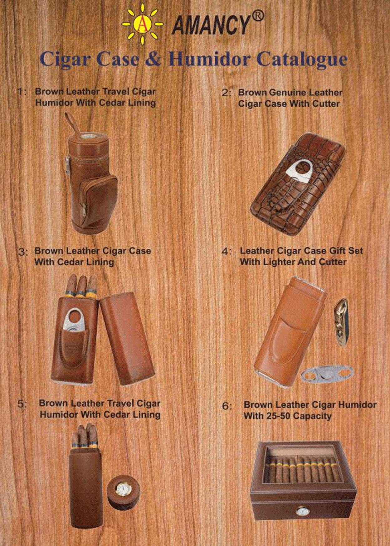 AMANCY Top Quality 3- Finger Brown Leather Cigar Case, Cedar Wood Lined Cigar Humidor with Silver Stainless Steel Cutter by AMANCY (Image #7)