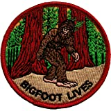 Bigfoot Lives - Walking Through Forest - Embroidered Iron On or Sew On Patch