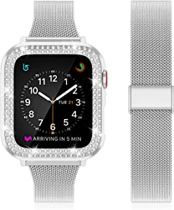Beuxece Stainless Mesh Band Compatible with Apple Watch Bands or Series 38mm 40mm 42mm 44mm Series SE/6/5/4/3/2/1, iWatch Band Slim Metal Bracelet Band,Silver,38mm
