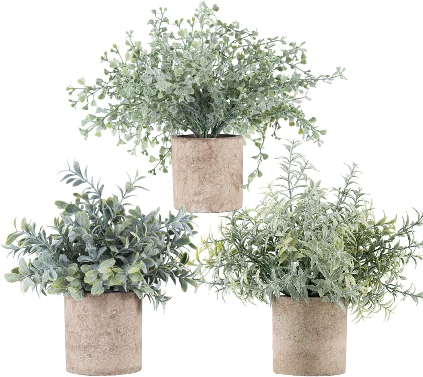 Der Rose 3 Pack Mini Potted Fake Plants Artificial Plastic Eucalyptus Plants for Home Office Desk Room Decoration