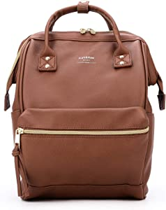 Kah&Kee Leather Backpack Diaper Bag with Laptop Compartment Travel School for Women Man (Brown, Small)