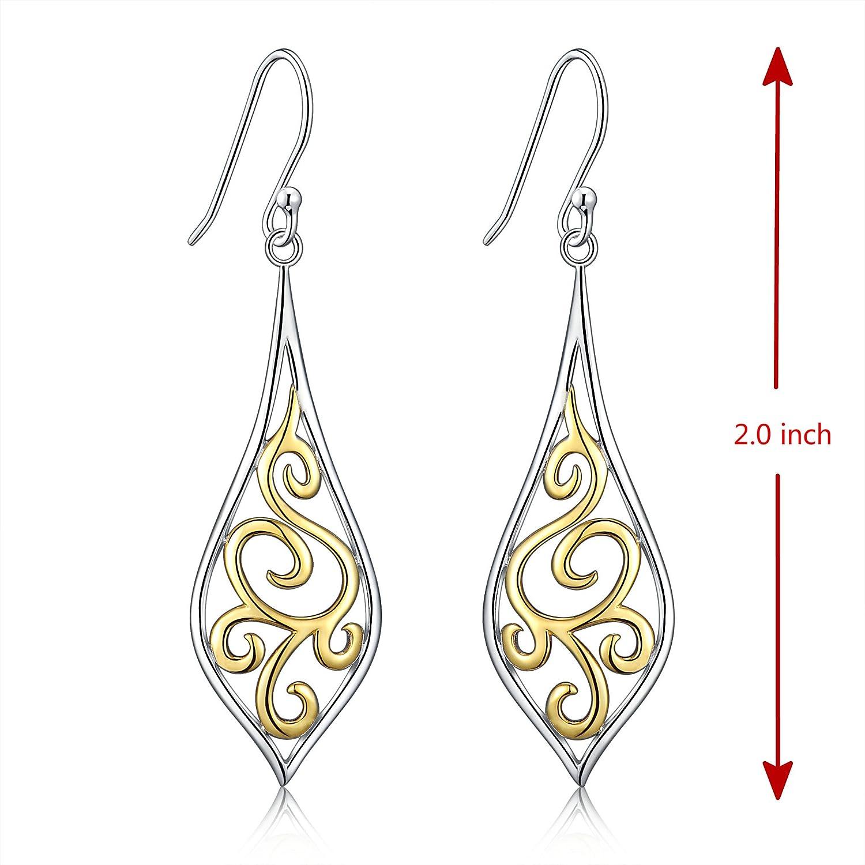 Pretty Filigree Leaf Short Drop Silver Plated Earrings