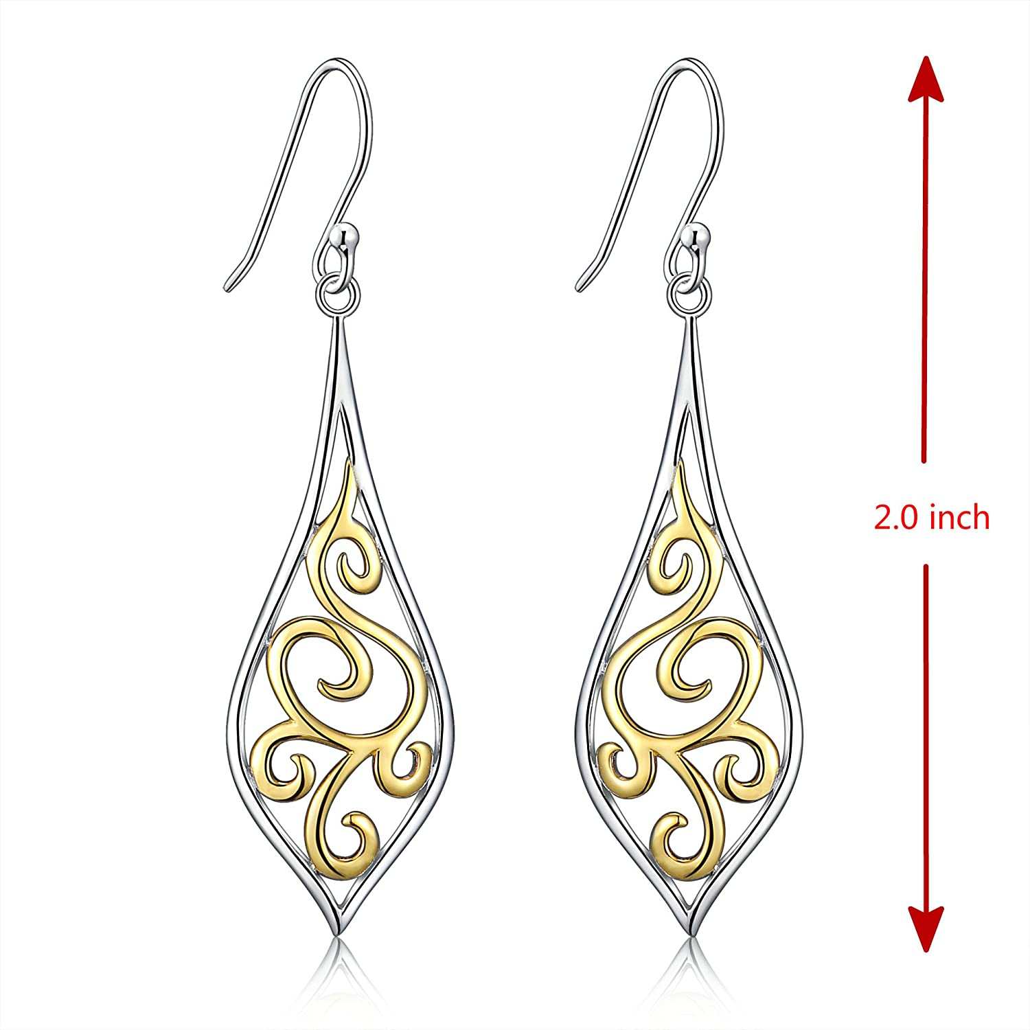 685431466bbd7 18K Gold Plated Sterling Silver Filigree Leaf Design Dangle Drop Earrings  For Sensitive Ears By Renaissance Jewelry